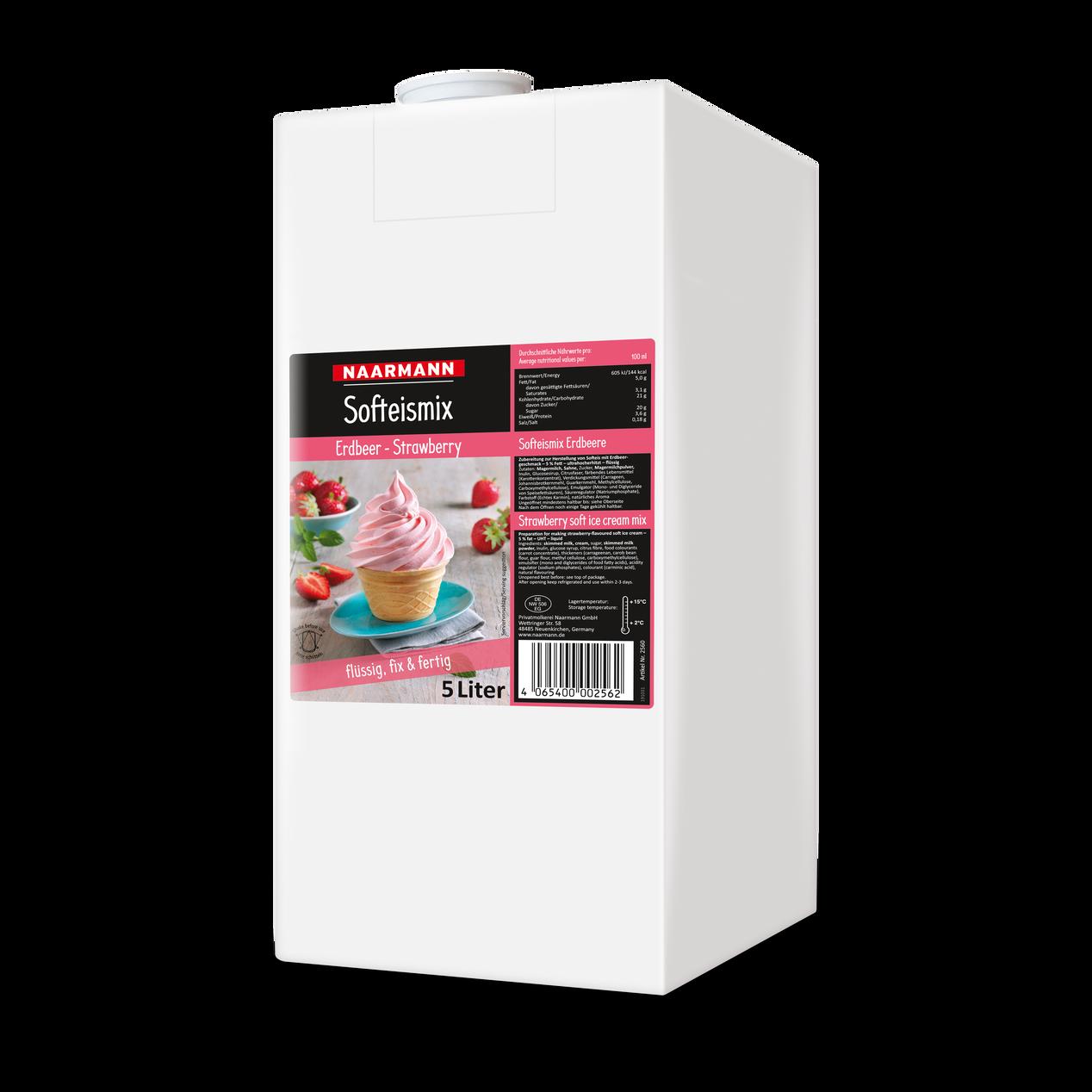 Erdbeer Softeismix Softeis Fertigmix Flüssigmix Softeis flüssig 2x4,5L